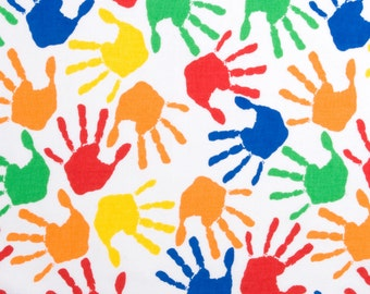 Hand Prints Cotton Fabric, Colorful Hand Prints Cotton Fabric, Handprints Cotton Fabric