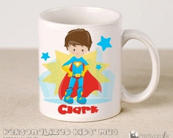 SALE Custom Superhero Mug, personalized ceramic Mug, 11oz kids mug, custom ceramic cup, custom gifts for children - KM176