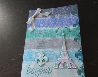 """French Happy Birthday Card, """"fetons ton anniversaire"""", background Eiffel Tower and Fleur de lis"""