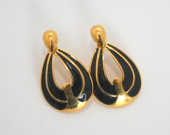 Napier black and gold pierced earrings