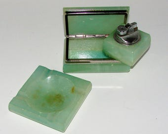 Ashtray Lighter Cigarette Box Green Stone Vintage Mid Century