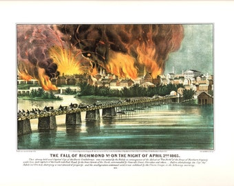 Currier and Ives Extra large print The Fall of Richmond. The page is approx. 18 1/2 inches wide and 14 inches tall.