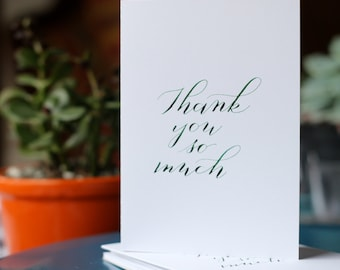 Thank you so much - Notecards - Set of 3 - calligraphy - hand lettered - originals