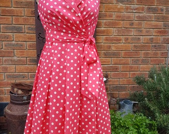 50s 60s Rock a Billy Pin Up Retro Look Vintage Dress in Red White Spot Size 12