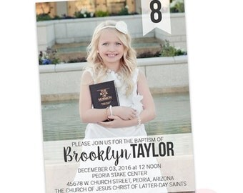 LDS Baptism Announcement- Girl- Invitation - Missionary Farewell- Baptism Invite- Handlettering Invite - typography- great to be 8 eight