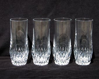 Four Vintage Crystal Drinking Tumblers | 5.875 inches | Excellent