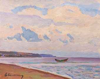 VINTAGE IMPRESSIONIST SEASCAPE Original Oil Painting by Soviet artist V.Kolesnik 1976 Marine Seaside, Beach, Boat, Summer landscape Skyscape