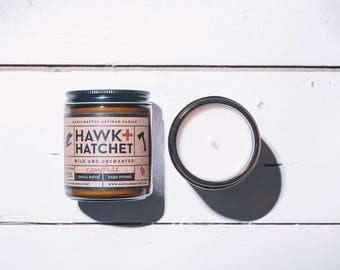 Campfire candle, Hawk and Hatchet, soy blend, hand poured, small batch, 8oz, man candle, gifts for him, campfire, fathers day, mandle