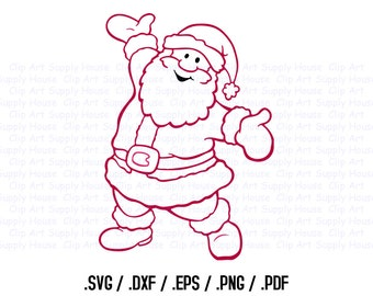 Santa Claus Clipart, Winter Christmas Wall Art, Santa SVG File for Vinyl Cutters, Screen Printing, Silhouette, Die Cut Machines - CA386