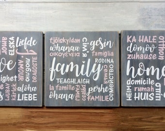 """Set of 3 signs """"Love, Family, Home"""" in different languages - Hand painted pine - Housewarming, Engagement gift - Country farmhouse decor"""
