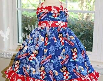 Girls Lilo & Stitch- Toddler Girls Lilo and Stitch Dress- Hawaiian Dress- Girls Party Dress  size 6m, 12m, 18m, 2t, 3t 4t, 5t, 6, 7, 8
