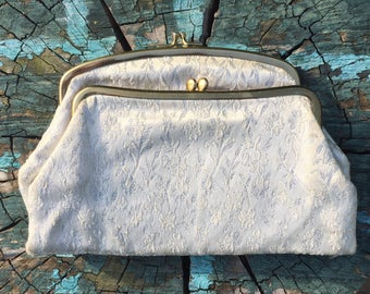 Vintage handbag makeup bag small clutch fold over white and silvery thread 1980's