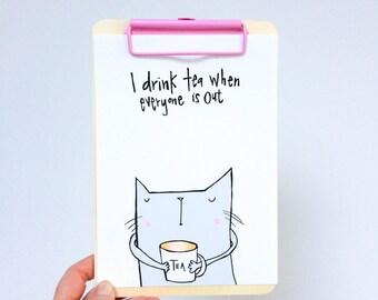 The cat that drinks tea print