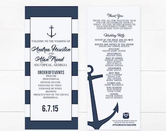 Anchor Wedding Program, Stripe Wedding Program, Navy Wedding Program, Nautical Wedding Program,  Stripe Invitation