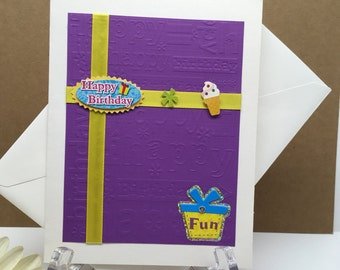 Happy Birthday Card, Greeting Card, Purple Card, Staionary Card, Blank Inside Card, Birthday Fun Card