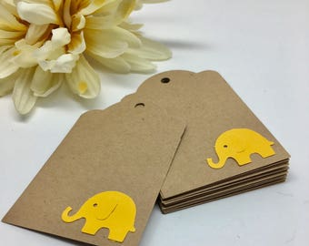 Yellow  Elephant Tags - Kraft Tags - Hang Tags - Wish Tree Tags - Baby Shower Tags - Place Card  -Punched Tags - Party Tags - Set of 12