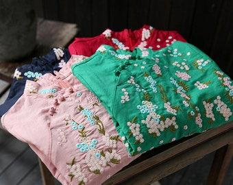 Cheong-sam style cotton dress