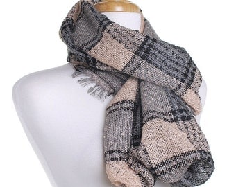 Apricot Infinity Knit Scarf / Checked Circle Scarf / Autumn Scarf / Gift for Her / Eternity Scarf / Warm Shawl / Winter Wrap / Tartan Check