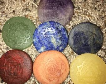 Item 4, Natural , Unpolished, 7 Chakra Stone Set, Embossed, Sanskit, Chakra Stones, Chakra, Chakra Stone Set, Reiki Stones, Reiki, Reiki Sto