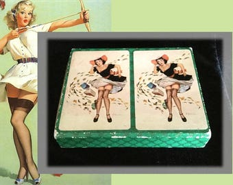 Complete Double Deck of Vintage Pin Up Girl Playing Cards in Original Box with Official Canasta Rules, Circa 1950s
