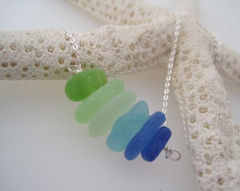 Sea Glass Necklace  - Bright Blue - Green -Beach Glass - Recycled - Ombre - Upcycled - Silver - Summer Style - Frosted - Natural