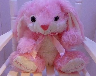 Easter Bunny,  Pink Easter Plush Bunny, Fluffy Bunny, Personalized Plush Bunny, Personalized Baby, Pink Bunny, Sitting Bunny