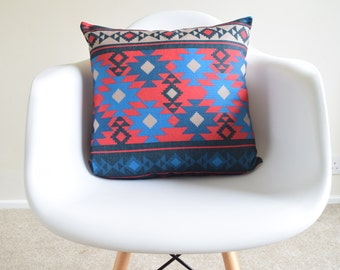 Magenta Pink/Blue Kilim Aztec Tribal Printed Cotton Linen Cushion/Pillow Cover 18 x 18""