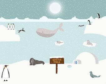 Penguins or polar bears art print-Narwhal wall art-Seal print-Walrus poster-Arctic-kids room decor-Cool snow poster-North Pole-Antarctica