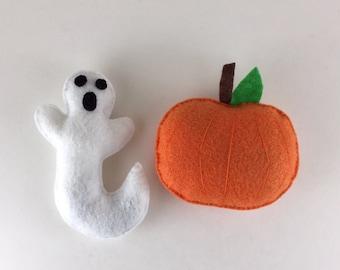 Felt Halloween Pumpkin and Ghost Catnip Cat Toy Set, Handmade