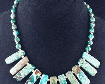 Imperial Jasper Cleopatra style beaded necklace, jewelry