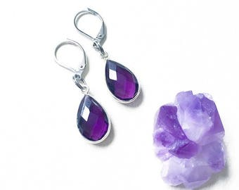 Exquisute Amethyst Drop Earrings, All-Healing, Inner Peace, Mind Body Soul, Positivity, Positive Transformation, Amethyst Earrings, Amethyst