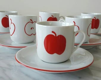 Lavazza Italy Espresso Cups Set Of 6 Mid Century Modern 1980's Modern Red White Apple Demitasse Cups Vintage Modern Espresso Coffee Cup Set