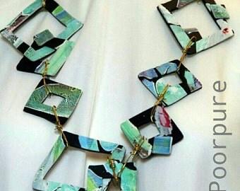 Hand-painted POLYMER CLAY necklace, unique, handmade, original design