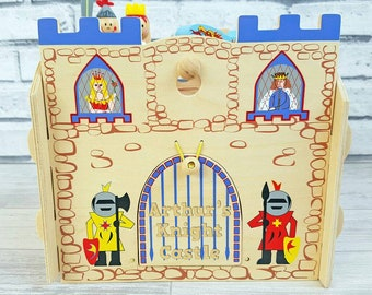 Personalised Knight Playset,  Wooden Toy, Castle, Gifts for Boys or Girls - 00265