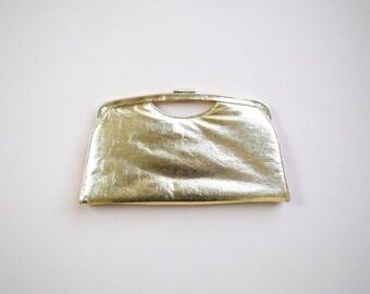 1960s patent leather gold clutch / gold handbag / golden clutch