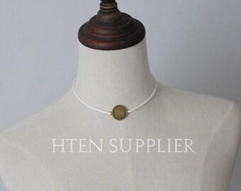 10pcs Handmade Necklace Antique bronze Pendant finish bezel settings - Pendant base trays - DIY jewelry
