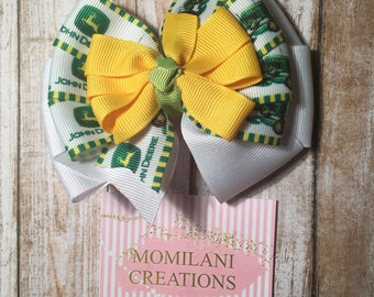 Tractor hair bow | Pinwheel hair bow | Deere hair bow | Yellow and green hair bow | Country hair bow | Birthday gift | Deer hair bow
