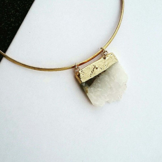 Labradorite  choker Brasd necklace - trendy - jewellery - circle - geometric - statement piece