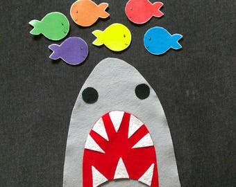 6 Little Fish and Shark Felt Story // Flannel Board // Felt Shark // Cognitive // Preschool // Colors //  Counting //