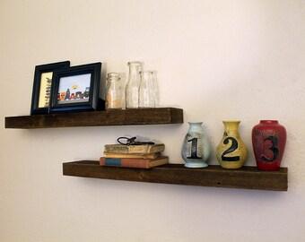 24 Inch (Mini) - Reclaimed Rustic Floating Shelf (Rustic Shown), Modern Rustic Home, Wall Shelf, Shelves, Kitchen Shelf, Farm Shelf