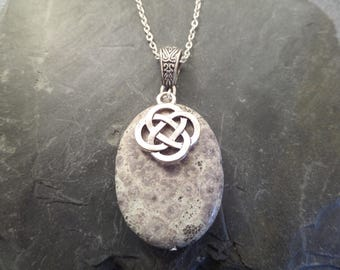Fossilized Coral Pendant Necklace with Celtic Knot Charm, Gray and Silver, Semi Precious Stone Bead