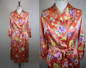 1950s Floral House Coat / 50s Rayon Satin Dressing Gown / 1950s Floral Robe / Bold Floral Print / Size Medium - Large / M - L