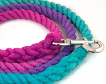 "Dog Rope Leash ""The Maya"" in Green, Purple, and Pink"
