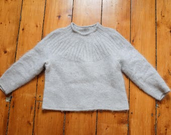 Grey Knit Fuzzy Sweater