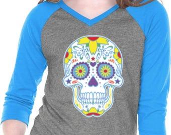 Girl's Neon Sugar Skull 3/4 Sleeve V-neck Raglan Shirt WS-19099-GJP0568