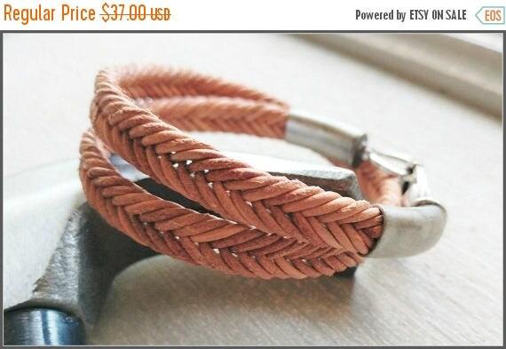 Free Shipping - Men Leather Bracelet, Braided Bracelet, Brown Braid Bracelet, Mens Leather Jewelry, Mens Brown Bracelet, Mens Statement Jewe