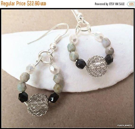 Free Shipping - Beaded drop earrings, Statement Earrings, Large Dangle Earrings, Big Womens Earrings, Black White Earrings, Womens Ball Earr