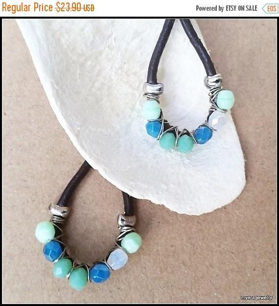 Free Shipping - Leather drop earrings, Chandelier Wire Earrings, Large Dangle Earrings, Big Womens Earrings, Blue Wire Earrings, Womens Mint