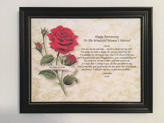 20th Wedding Anniversary Gift For Wife: 20th Anniversary Gift For Wife Love Poem Personalized