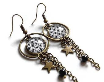 fine earrings * geometry way Japanese paper * black white, glass cabochon